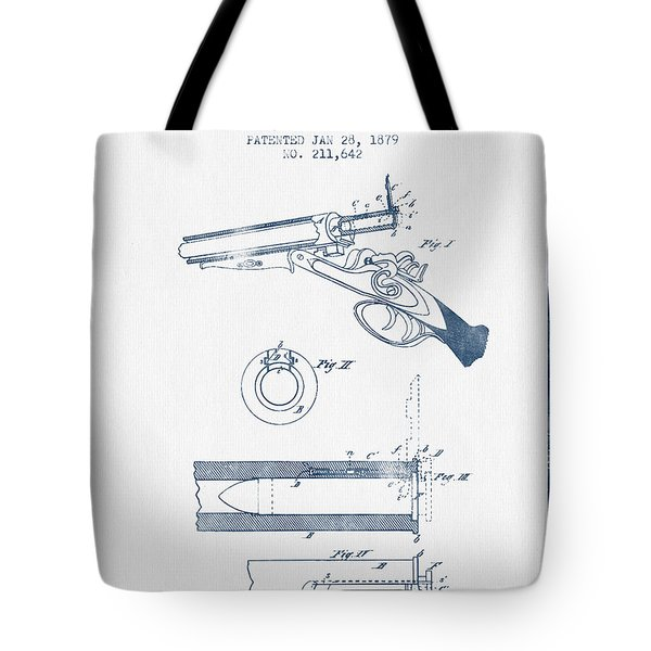 Breech Loading Shotgun Patent Drawing From 1879 -  Blue Ink Tote Bag