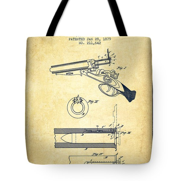 Breech Loading Shotgun Patent Drawing From 1879 - Vintage Tote Bag