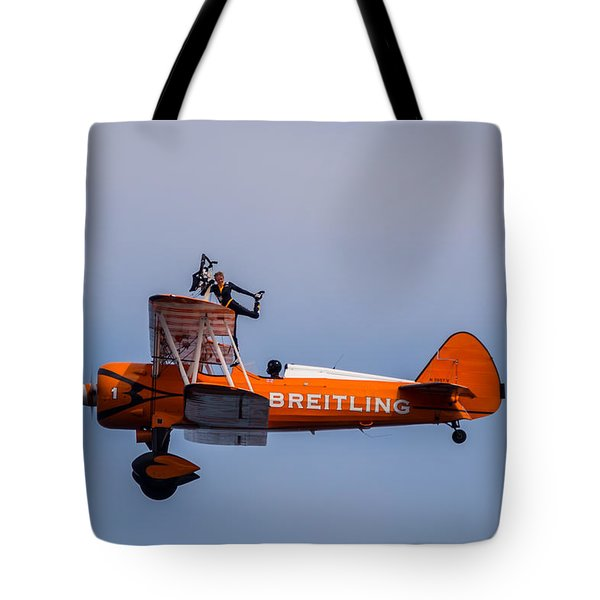 Tote Bag featuring the photograph Breitling Wingwalker Cockpit Stand by Scott Lyons