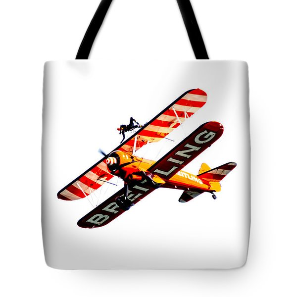 Tote Bag featuring the photograph Breitling Wingwalker High Contrast Sunderland Air Show 2014 by Scott Lyons