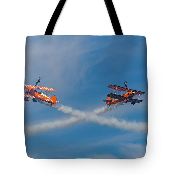 Tote Bag featuring the photograph Breitling Wingwalkers Cross Sunderland 2014 by Scott Lyons