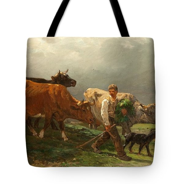 Breton Lad With Cattle Tote Bag by Julius Caesar Ibbetson