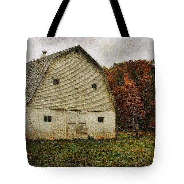 Tote Bag featuring the photograph Brick Barn by Joan Bertucci
