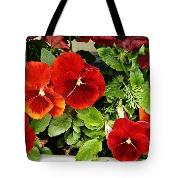 Tote Bag featuring the photograph Brick Pansies by VLee Watson