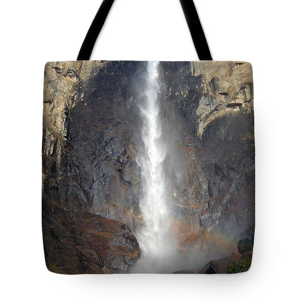 Bridalveil Falls Double Rainbow Tote Bag by Debra Thompson