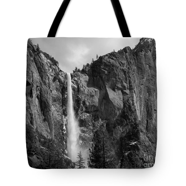 Bridalveil Falls In B And W Tote Bag by Bill Gallagher
