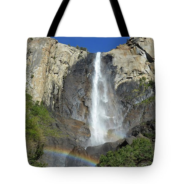 Bridalveil Falls With Rainbow Tote Bag by Debra Thompson