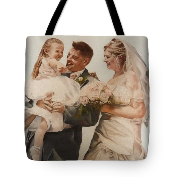 Tote Bag featuring the painting Bride And Joy by Cherise Foster