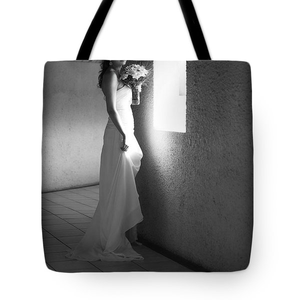 Bride At The Window I. Black And White Tote Bag by Jenny Rainbow