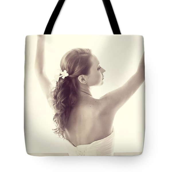 Bride At The Window Tote Bag by Jenny Rainbow