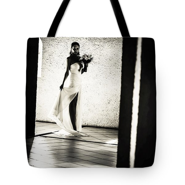 Bride. Black And White Tote Bag by Jenny Rainbow