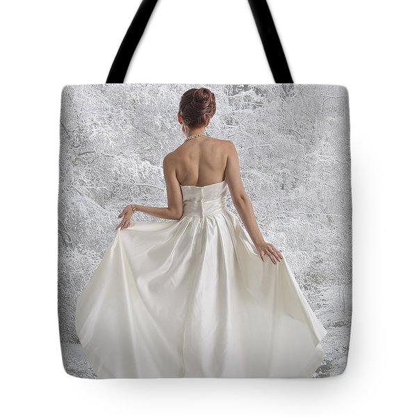 Bride In The Snow Tote Bag by Angela A Stanton