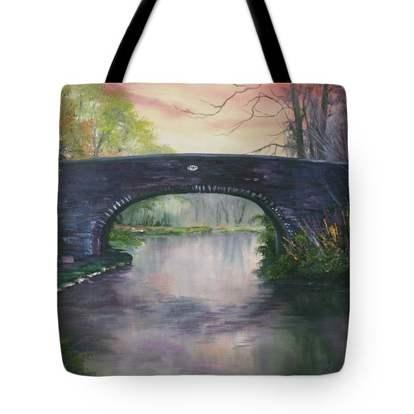 Tote Bag featuring the painting Bridge 91 At Fradley Canal Staffordshire Uk by Jean Walker