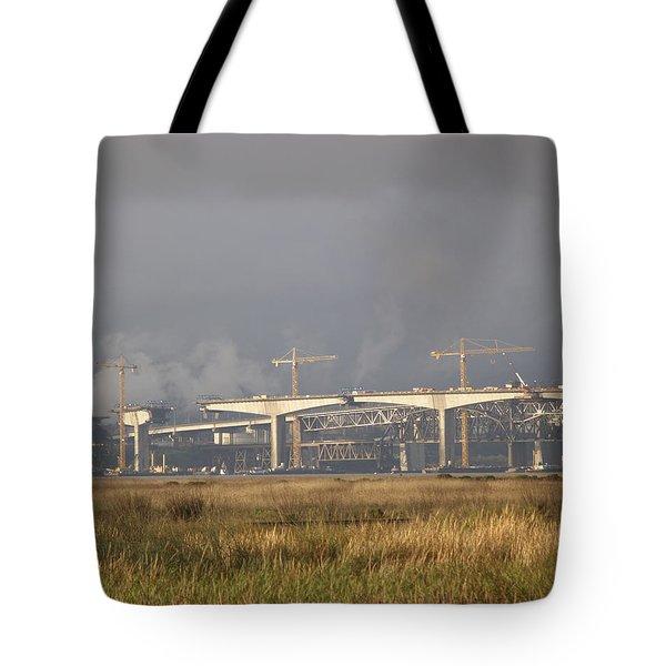 Bridge Building Tote Bag by Bill Gallagher