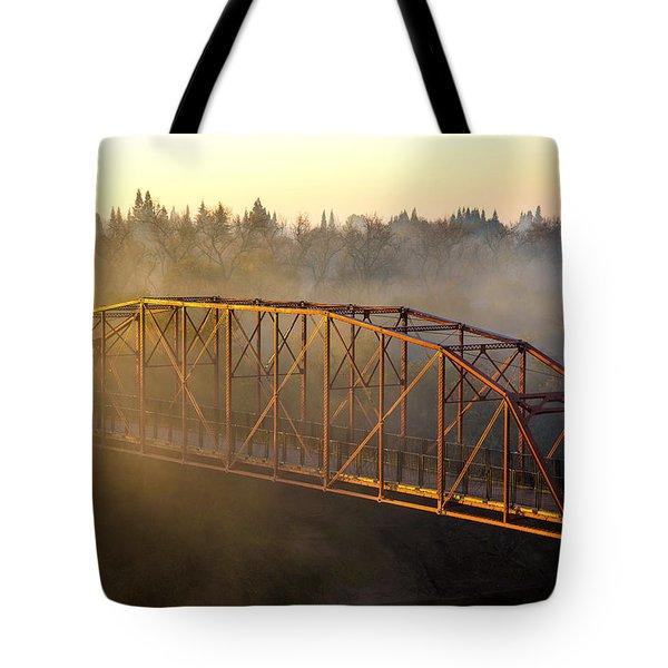 Bridge In Fog  Tote Bag