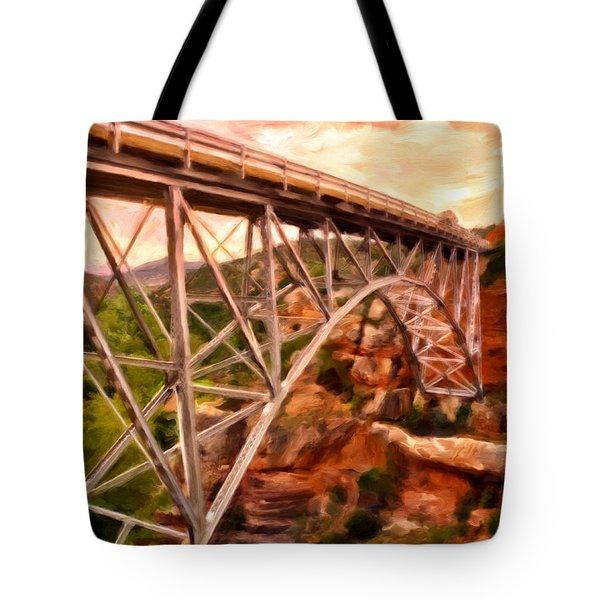 Bridge In Oak Creek Canyon Tote Bag by Michael Pickett