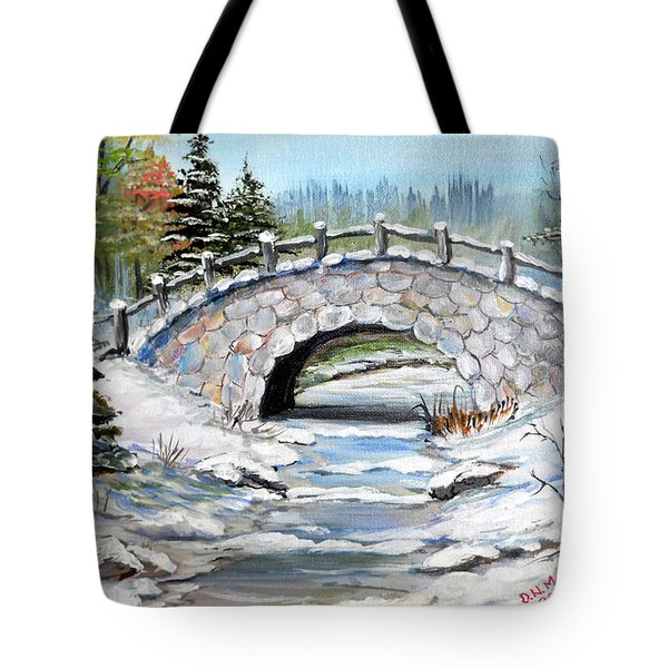Tote Bag featuring the painting Bridge In Winter by Dorothy Maier
