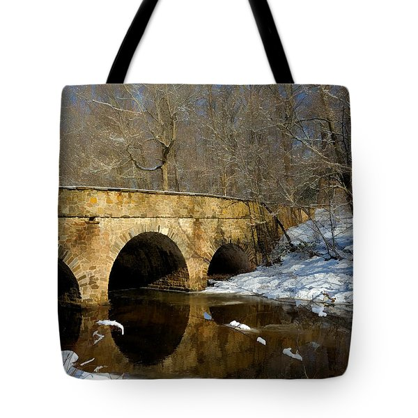 Bridge In Woods Tote Bag