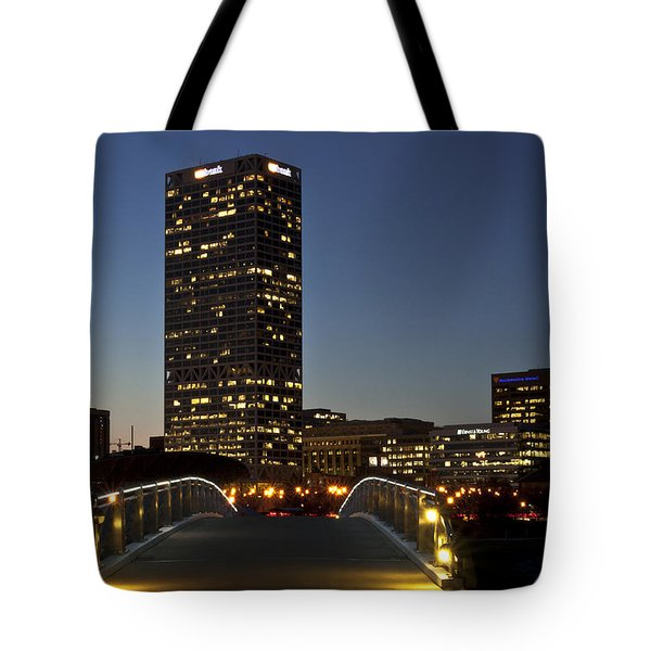 Tote Bag featuring the photograph Bridge Into Milwaukee by Deborah Klubertanz