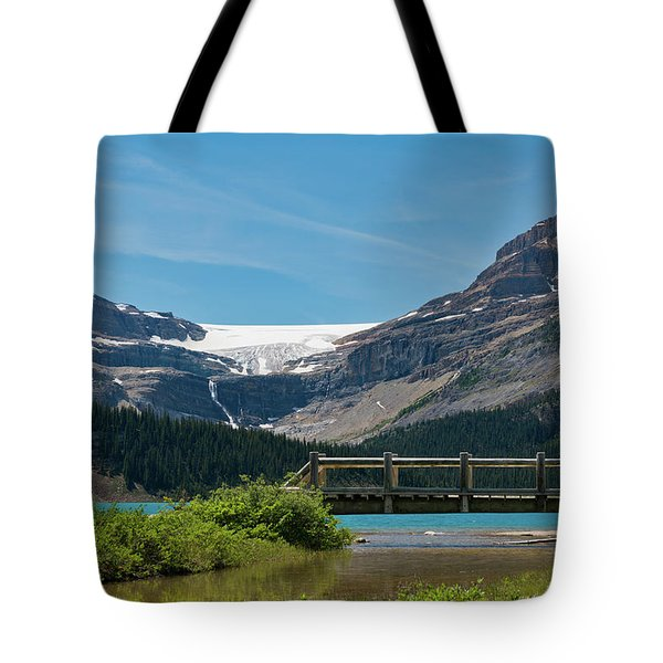 Bridge On Bow Lake, Bow Glacier, Mt Tote Bag