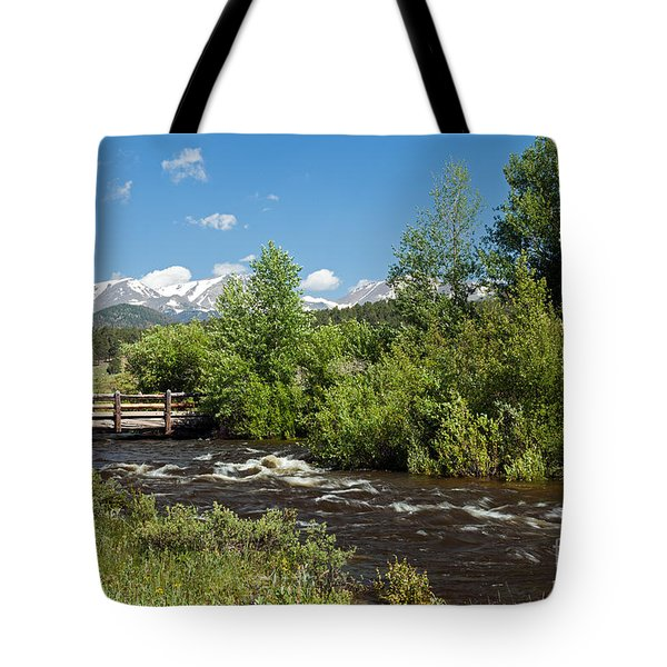 Bridge Over Big Thompson River In Moraine Park In Rocky Mountain National Park Tote Bag