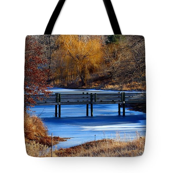 Tote Bag featuring the photograph Bridge Over Icy Waters by Elizabeth Winter