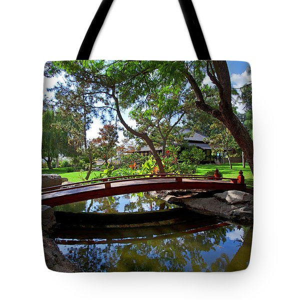 Tote Bag featuring the photograph Bridge Over Japanese Gardens Tea House by Jerry Cowart
