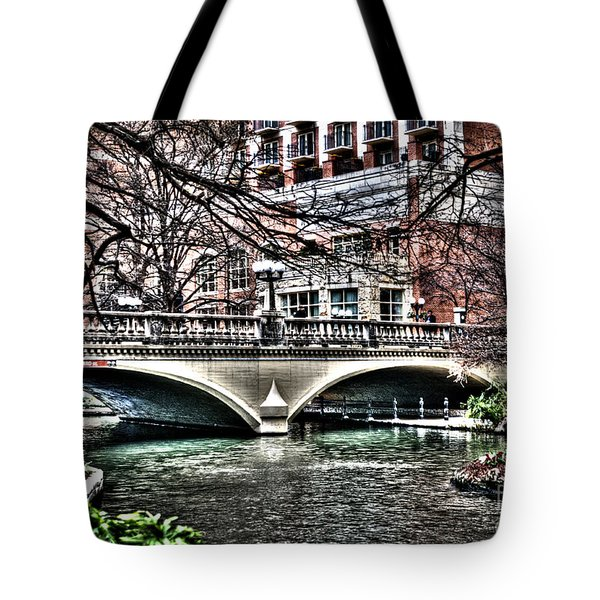 Tote Bag featuring the photograph Bridge Over San Antonio River by Deborah Klubertanz