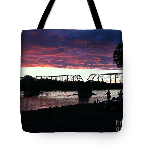Bridge Sunset In June Tote Bag