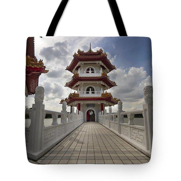 Bridge To Pagoda At Chinese Garden Tote Bag by David Gn