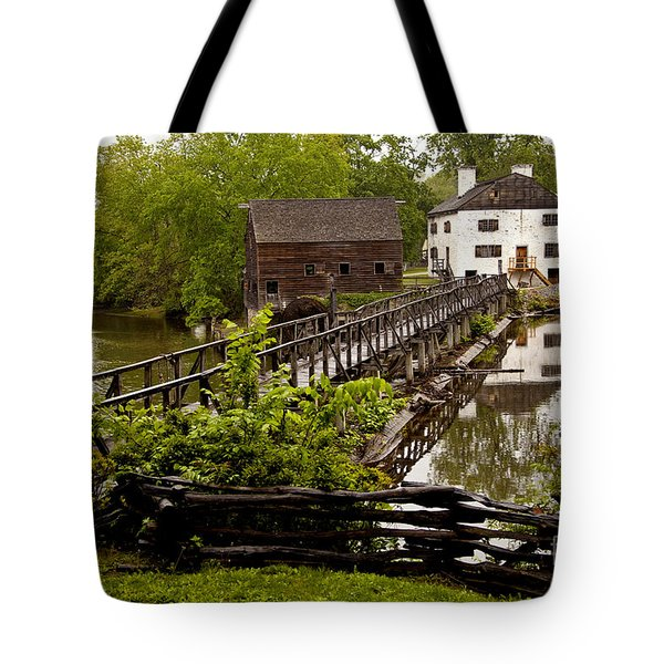 Tote Bag featuring the photograph Bridge To Philipsburg Manor Mill House by Jerry Cowart