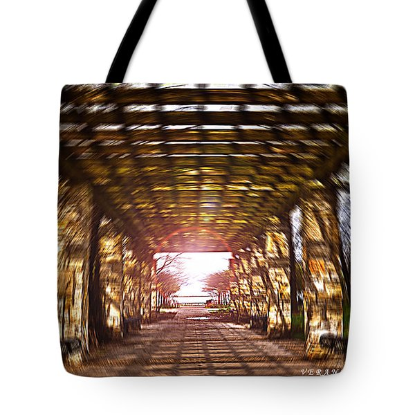 Tote Bag featuring the photograph Bridge To The Light From The Series The Imprint Of Man In Nature by Verana Stark