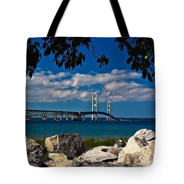 Bridge To The U.p. Tote Bag by Nick Zelinsky