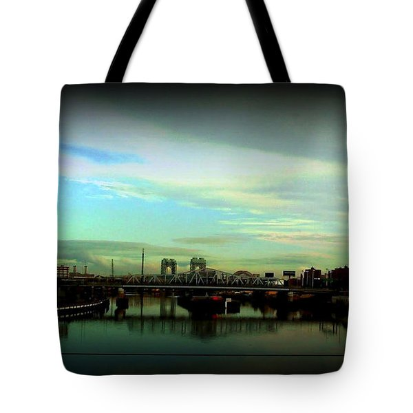 Tote Bag featuring the photograph Bridge With White Clouds Vignette by Miriam Danar