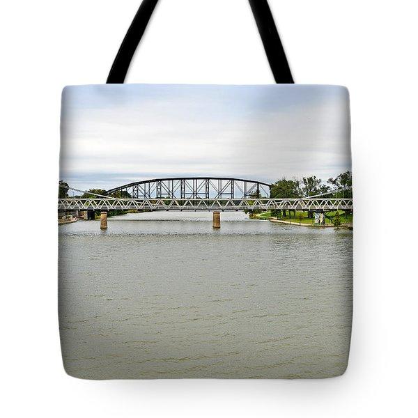 Bridges In Waco Tx Tote Bag by Christine Till