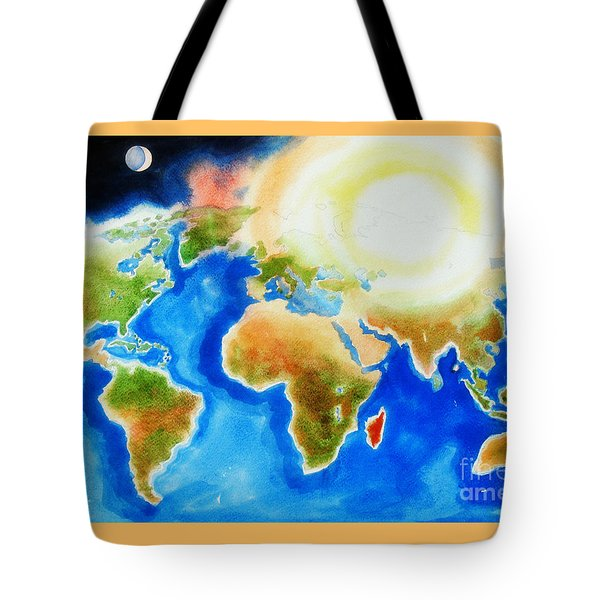 Bright Blue World Map In Watercolor With Sunshine And Moon  Tote Bag by Kip DeVore