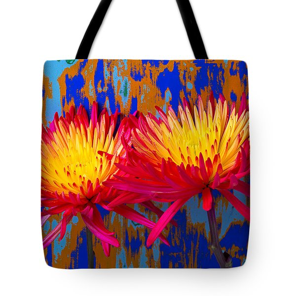 Bright Colorful Mums Tote Bag by Garry Gay