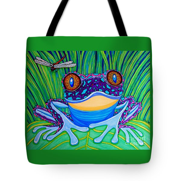 Bright Eyed Frog Tote Bag by Nick Gustafson