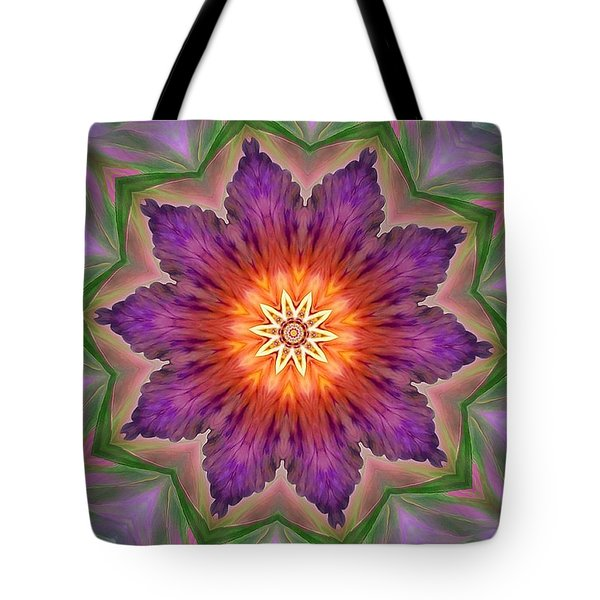 Tote Bag featuring the digital art Bright Flower by Lilia D