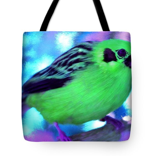 Bright Green Finch Tote Bag by Bruce Nutting