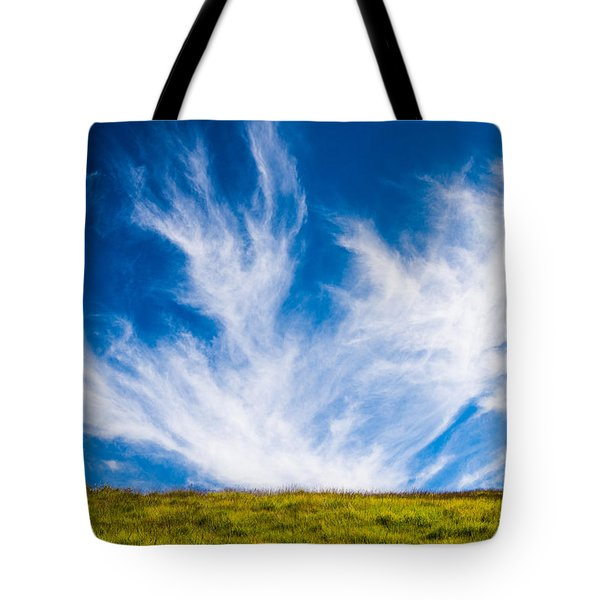 Bright Green Meadow And Deep Blue Sky Tote Bag by Matthias Hauser