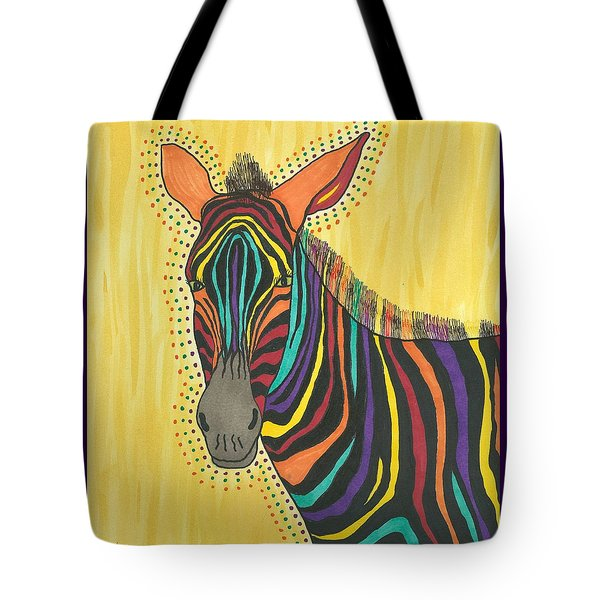 Tote Bag featuring the painting Bright Lite African Zebra  by Susie Weber