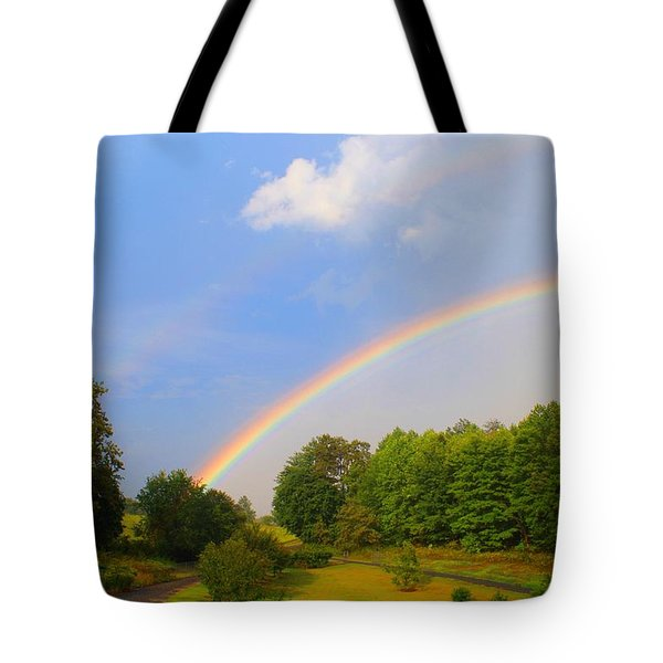 Tote Bag featuring the photograph Bright Rainbow by Kathryn Meyer