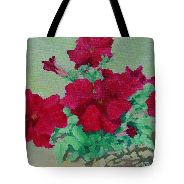 Red Flowers Art Brilliant Petunias Bright Floral  Tote Bag