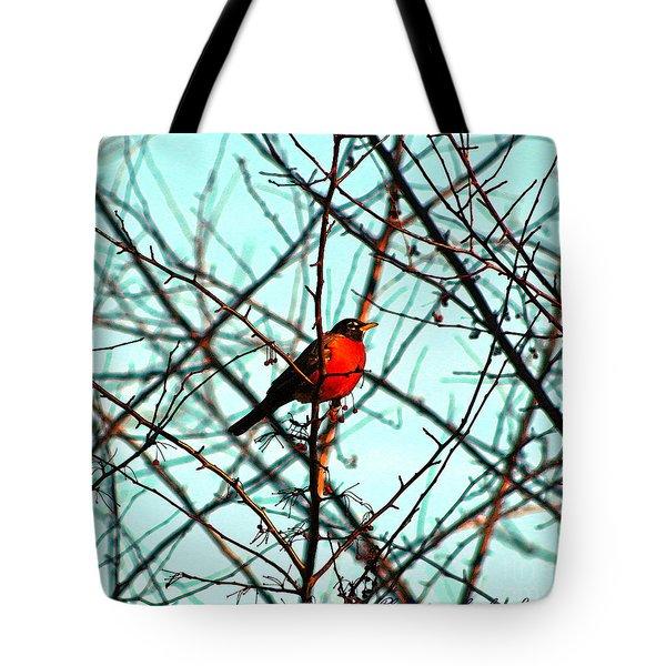 Bright Red Robin Tote Bag