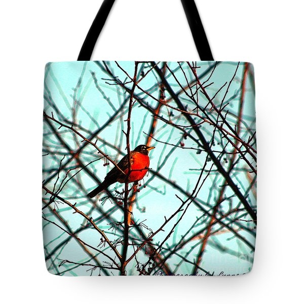Bright Red Robin Tote Bag