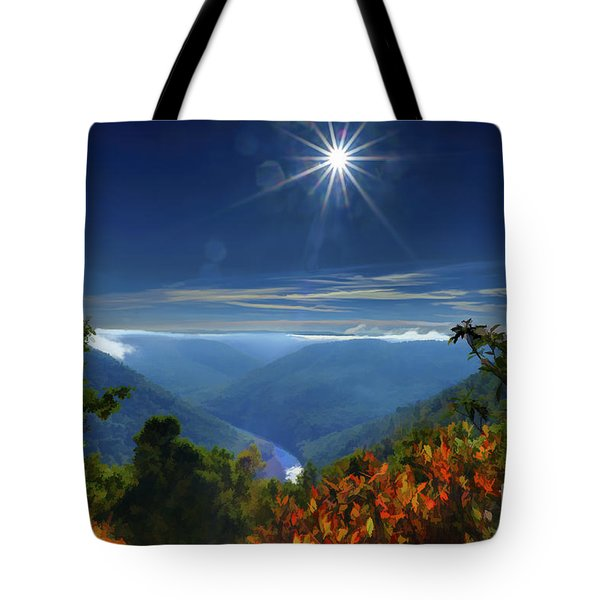 Bright Sun In Morning Cheat River Gorge Tote Bag by Dan Friend