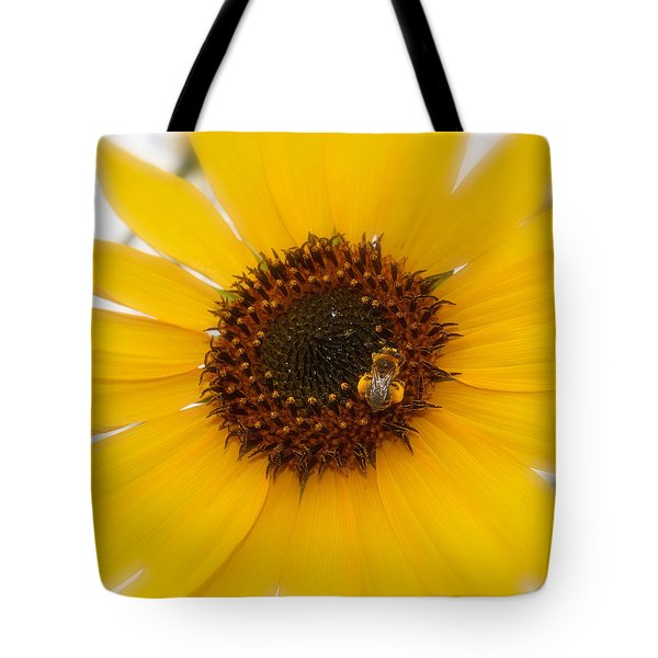 Tote Bag featuring the photograph Vibrant Bright Yellow Sunflower With Honey Bee  by Jerry Cowart