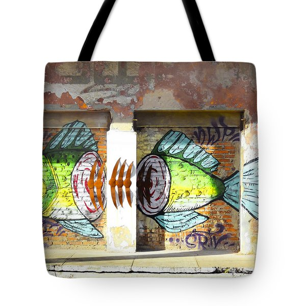 Brightly Colored Fish Mural Tote Bag by Anne Mott