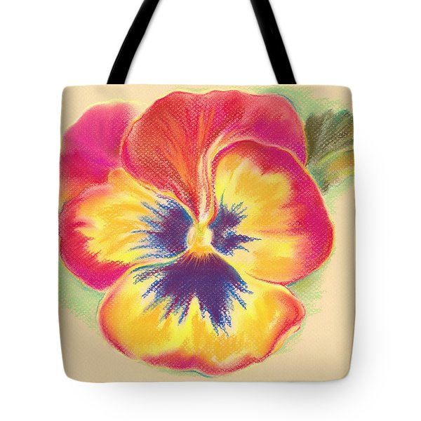 Tote Bag featuring the pastel Brightly Colored Pansy by MM Anderson